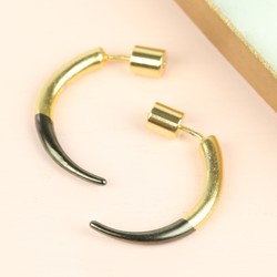 Large Gold Dipped in Black Horn Earrings