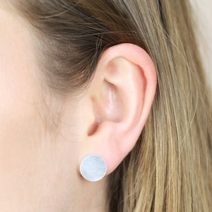 Large Brushed Disc Stud Earrings