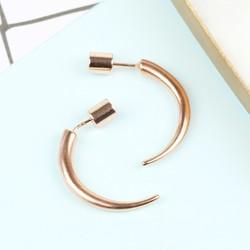 Large Rose Gold Horn Earrings