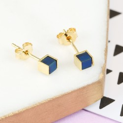 Navy Hematite and Gold Cube Stud Earrings