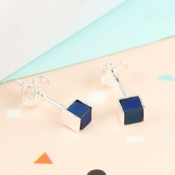 Navy Hematite and Silver Cube Stud Earrings