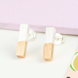 Silver Dipped in Rose Gold Bar Stud Earrings