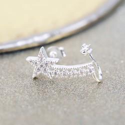 Silver Diamanté Shooting Star Short Ear Cuff