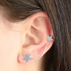 Silver Double Star and Chain Earcuff