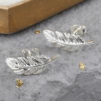 Silver Feather Stud Earrings
