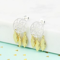 Silver and Gold Dreamcatcher Earrings