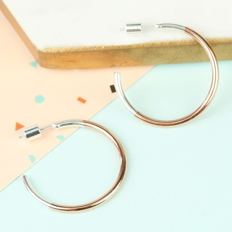 Silver and Rose Gold Dipped Hoop Earrings