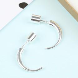 Small Silver Horn Earrings