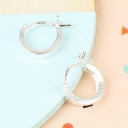 Small Wide Silver Hoop Earrings
