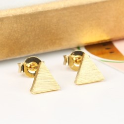 Tiny Brushed Gold Triangle Stud Earrings