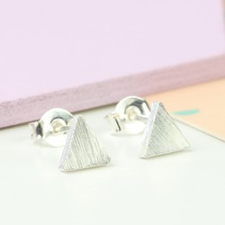 Tiny Brushed Silver Triangle Stud Earrings