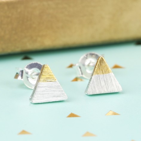 Tiny Silver Dipped in Gold Triangle Stud Earrings