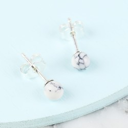 White Marble Stud Earrings