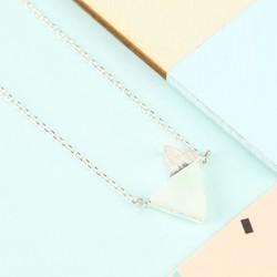 Amazonite Double Triangle Pendant Necklace in Silver