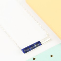 Blue Lapis Tube Pendant Necklace in Silver