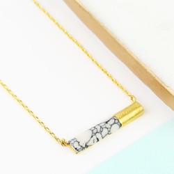 White Marble Tube Pendant Necklace in Gold