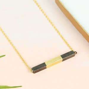 Black & Gold Dipped Horizontal Bar Necklace