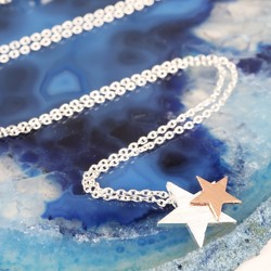 Starry Nights Brushed Silver and Rose Gold Star Necklace