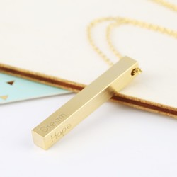 'Dream Hope Love Believe' Bar Necklace