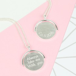 Engraved Spinning Disc Necklace