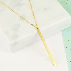 Flat Vertical Bar Necklace in Gold
