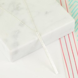 Flat Vertical Bar Necklace in Silver