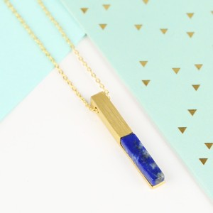 Gold and Blue Lapis Bar Necklace