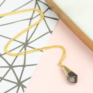 Gold Dipped in Black Faceted Geometric Drop Necklace