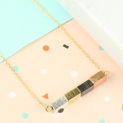 Gold Mixed Metal Cube Necklace