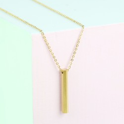 Gold Plated Stainless Steel Hexagonal Bar Necklace