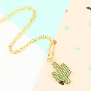 Green and Gold Cactus Necklace