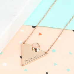 Hand-Stamped Rose Gold Triangle Necklace with Quartz Stone