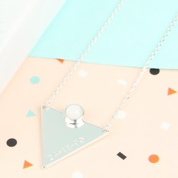 Hand-Stamped Silver Triangle Necklace with Crystal Stone