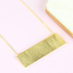 Large Flat Horizontal Bar Necklace in Gold