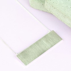 Large Flat Horizontal Bar Necklace in Silver
