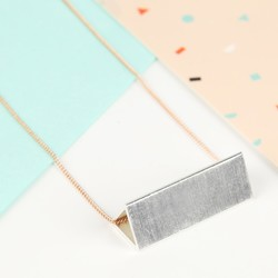 Long Silver and Rose Gold Triangle Tube Necklace