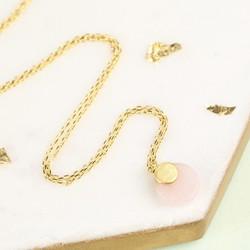 Round Rose Quartz Pendant Necklace
