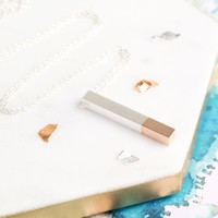 Silver Dipped in Rose Gold Bar Necklace