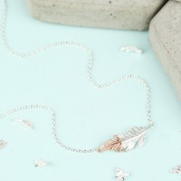 Silver Dipped in Rose Gold Feather Necklace