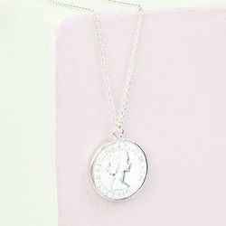 Long Silver Sixpence Pendant Necklace