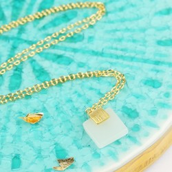 Square New Jade Pendant Necklace
