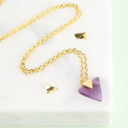 Triangle Amethyst Pendant Necklace
