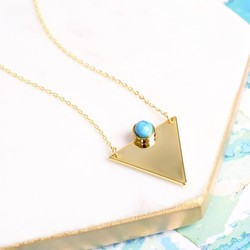 Triangle Necklace with Turquoise Stone