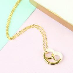 White and Gold Pretzel Pendant Necklace