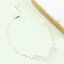 Personalised Silver Chevron Bracelet
