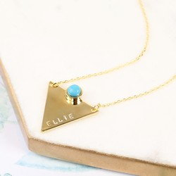 Hand-Stamped Triangle Necklace with Turquoise Stone