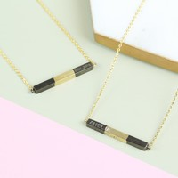 Personalised Black & Gold Dipped Horizontal Bar Necklace