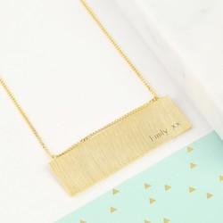 Personalised Name Large Flat Horizontal Bar Necklace