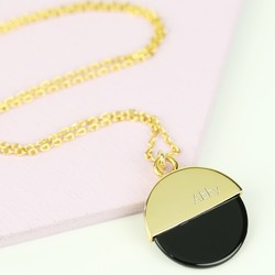 Personalised Round Shell Pendant Necklace in Gold and Black
