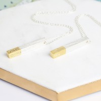 Personalised Silver Dipped in Gold Bar Necklace